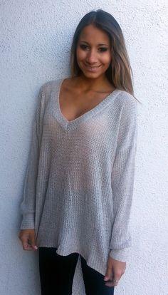 Oversized V-Neck Sweater - Mocha from ZOË Boutique
