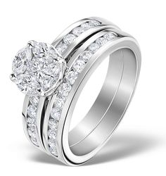 Get the look of a much larger diamond with the Galileo diamond setting. Using a clever method of setting smaller diamonds to perfectly fit, we are able to create the illusion of a single diamond, in this case a 2ct Diamond. This ring is also sold as a perfectly fitting bridal set comprising of both an engagement ring and a diamond wedding band. £2439.00