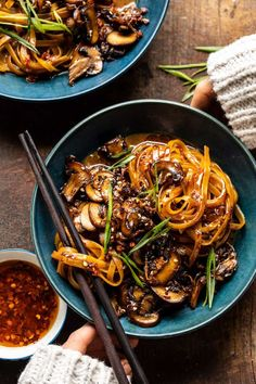 30 Minute Saucy Ginger Sesame Noodles with Caramelized Mushrooms