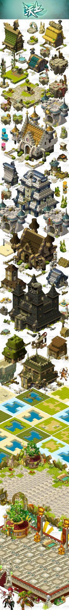 【游戏美术资源】DOFUS & 沃土Q版卡通全套元素/场景原画/UI素材: