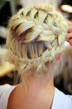 i love braids. The ladies of Blow braided hair all evening! braids more braids Pretty Hairstyles, Braided Hairstyles, Wedding Hairstyles, Braided Updo, Twisted Braid, Quinceanera Hairstyles, Style Hairstyle, Updo Hairstyle, Wedding Updo