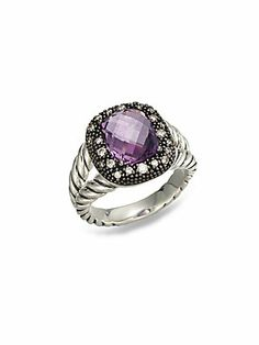 David Yurman Diamond& Amethyst Sterling Silver Ring