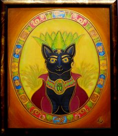 "BASTET - the Cat-Women  ""Magic Feminine"" series   silk painting  55 x 68 cm, with frame"