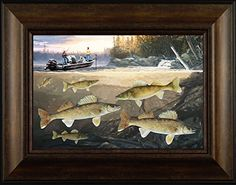 Walleye Action By Todd Thunstedt 20x26 Bait Lake Walleye Sauger Fish Fishing Bass Musky Muskellunge Mille Lacs Boat Trolling Motor Ice Tournament Brainerd Framed Art Print Wall Décor Picture ThunderMark Art and Graphics http://www.amazon.com/dp/B014DWQ1C6/ref=cm_sw_r_pi_dp_s154vb1QVWRW7
