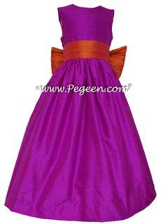 Fuschia and mango silk Flower Girl Dress - Pegeen Style 398