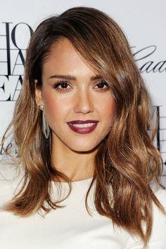The hottest trend in lips? Beautiful berry shades like this one on Jessica Alba