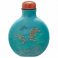 Chinese Enameled Turquoise Glass Snuff Bottle - by Doyle New York