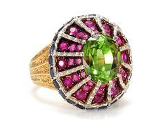 Stunning Buccellati 3.23 ct Peridot Sapphire Ruby Ring - The Three Graces