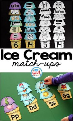 Make learning fun with these themed Ice Cream Initial Sound and Number Match-Ups. Your elementary age students will love this fun ice cream themed literacy center and math center! Perfect for literacy stations, math stations, or small review groups all year long. Use in your Preschool, Kindergarten, and First Grade classrooms. Black and white options available to save your color ink. via @dabofgluewilldo
