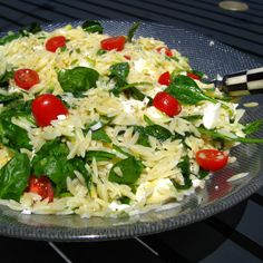 Orzo Summer Salad -added lots of onion, garlic powder, and cayenne pepper, used Roma tomatoes since they were on hand, didn't use nearly that much feta though more is better. Made with basil lime chicken (Pinterest recipe too)
