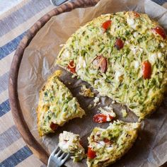 Zucchini Frittata - the feta cheese in here makes this Frittata amazing! i could eat the whole thing.  I've increased all the ingredients to serve 4, and I baked in the over for 30 minutes at 400. - LG