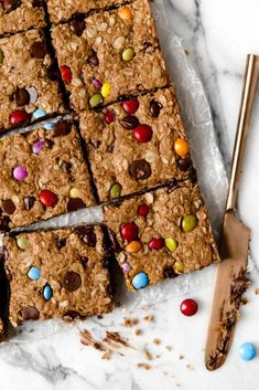 Our favorite cookie made into a bar. Soft, chewy and peanut buttery - these Monster Cookie Bars are studded with chocolate chips and candy-coated pieces. Gluten Free Cookies, Gluten Free Desserts, Healthy Desserts, Gluten Free Recipes, Strawberry Desserts, Healthy Treats, Healthy Cooking, Healthy Food, Vegan Recipes