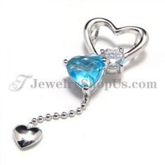 925 Silver Sweet Heart Pendant with Zircon (Electroplating platinum) with Free Chain