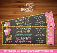Printable Chalkboard Pink and Gold Carousel Ticket Birthday Invitation | Merry Go Round | Pony | Carnival | Digital File | Girls Birthday Party Idea | FREE thank you card | Party Package Available | Banner | Cupcake Toppers | Favor Tag | Food and Drink Labels | Signs | Candy Bar Wrapper | www.dazzleexpressions.com