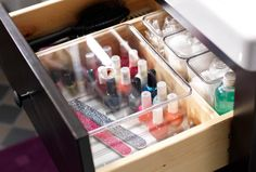GODMORGON clear boxes with lids - perfect for keeping that growing nail polish collection neat and organized.
