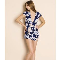 Cotton Candy LA romper. (Bare Anthology) A rose and flower patterned romper, navy blue base and mixed colored flowers. Bare Anthology Tops