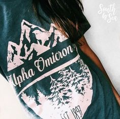 Alpha Omicron Pi | Alpha O | Mountain Scenery | Summer Style | Sorority Fall Fashion | Sorority Accessories | South by Sea | Greek Tee Shirts | Greek Tank Tops | Custom Apparel Design | Custom Greek Apparel | Sorority Tee Shirts | Sorority Tanks | Sorority Shirt Designs