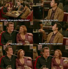 HIMYM Marshall thinks your a vampire. Oh Marshall, your sincere beliefs in all things paranormal makes me love you.
