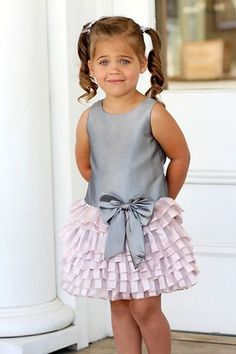 Isobella & Chloe Grey/Pink Prima Ballerina Drop Waist with Ruffled Tulle Dress  *Preorder*