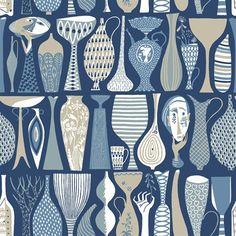 Brilliantly illustrative, the Borastapeter Pottery wallpaper has been designed by Stig Lindberg as part of the Scandinavian Designers II collection. Inspired by his days as a university pottery teacher, this abstract paper features hand drawn pots and Wallpaper Decor, Wallpaper Samples, Print Wallpaper, Wallpaper Roll, Bamboo Wallpaper, Scandinavian Wallpaper, Scandinavian Modern, Stig Lindberg, Blue Pottery