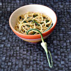 Garlic Scape Lemon Pasta via Blondie's Cakes and Things