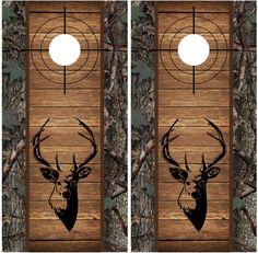 Buck Camo Wood Cross Heirs Cornhole Board Wraps