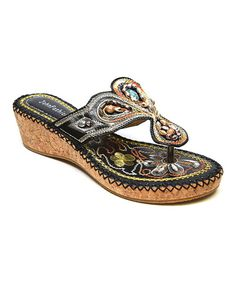 Love this Black Beaded Embroidered Flourish Sandal by Simply Couture on #zulily! #zulilyfinds