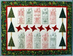 Advanced Embroidery Designs. Houses under Snow Christmas Wall Quilt.