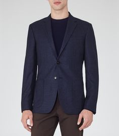 Mens Navy Mottled Weave Blazer - Reiss Millar B