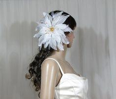 Large Silk Flower With Swarovski Crystal/Pearl. by flowershair, $115.00