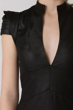 beautiful pleated shoulder detail in all black
