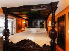 FOUR POSTER BED KING 4 POST CANOPY BED FRAME CARVED VINTAGE ANTIQUE ORNATE CAL #Unbranded #TudorJacobean