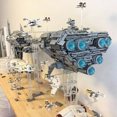 Lego star war rebel fleet : This is awsome, this person must not have kids. Because it would never stay like this with my son.