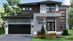 There is a mistaken belief that the lifting is done by the door opener. However the actual lifting is done by the springs. When the door is closed the springs enter tension. Modern Exterior House Designs, Modern House Facades, Dream House Exterior, Modern Architecture House, Exterior House Colors, Modern House Plans, Modern House Design, House Floor Plans, Pavilion Architecture