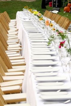 Harvest table with white linens, simple florals. Place Settings, Table Settings, White Linens, A Table, Harvest, Florals, Table Decorations, Dinner, Eat