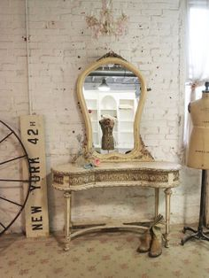 Painted Cottage Chic Shabby Romantic Vanity by paintedcottages, $1095.00