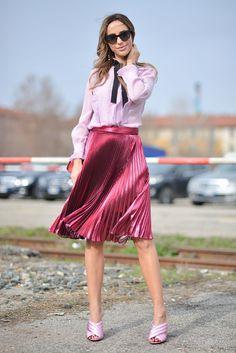 Milana Koroleva mit Gucci Sandalen bei der Milan Fashion Week