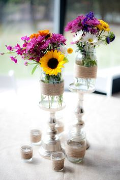 A Country Chic Wedding in Meridian, MS — Southern Productions Mississippi Wedding Planner and Florist Sunflower Centerpieces, Mason Jar Centerpieces, Wedding Centerpieces, Mason Jars, Wedding Decorations, Centrepieces, Our Wedding, Dream Wedding, Wedding Vintage