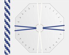 Patrón de kumihimo redondo de 8 hilos blanquiazul