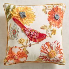 Discover unique patterned pillows and other decorative accent pillows at Pier 1 Imports. Tie Pillows, Floral Pillows, Decorative Throw Pillows, Cream Pillows, Hand Work Embroidery, Wool Embroidery, Embroidery Patterns, Diy Cushion, Cushion Fabric