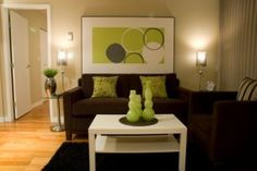 Bedroom: dark brown and lime green living room wall ideas brown living room ideas with green Cream And Brown And Green Living Room, Brown Leather Sofa Living Room, Leather Living Room Furniture, Navy Blue Living Room, Cream Living Rooms, Home Living Room, Living Room Decor, Living Room Color Schemes, Living Room Colors