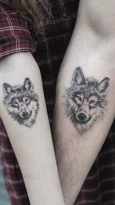 35 Matching Couple Tattoos to Inspire You - Wolf Couple Tattoo - Free Tattoo Designs, Couples Tattoo Designs, Tribal Tattoo Designs, Flower Tattoo Designs, Band Tattoos, Couple Tattoos, Foot Tattoos, Arm Band Tattoo, Tribal Scorpion Tattoo