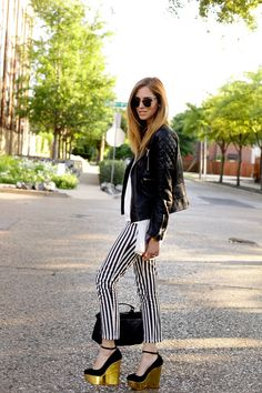 CHARLOTTE OLYMPIA WEDGES STEFANEL STRIPED JEANS STEFANEL TSHIRT ANINE BING LEATHER JACKET PROENZA SCHOULER PS1 BAG RAY-BAN CLUBMASTER SUNGLASSES