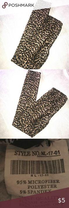 Ladies Cheetah Animal Print Leggings One Size Soft Feel Silky Brown NEW