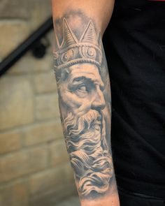To see more tattoos like this please visit: www.chronicinktat… Source by chronicink Tattoo Zeus, Realism Tattoo, Tattoos, Black And Grey, Blog, Ink, Portrait, Arm Tattoos, Arms