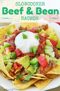 Slow Cooker Beef and Bean Nachos. This easy meal is a family and crowd pleaser. Perfect for nachos or taco salad