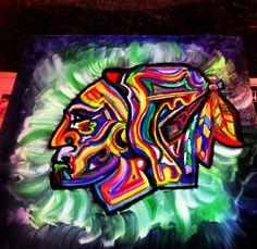 Chicago Blackhawks hockey art painting