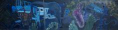 Kraaienparadijs, vijfluik Hel, onderpaneel  olieverf op paneel, 25 x 100