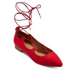 Women's Kady Wide Width Ghillie Pointed Toe Lace Up Ballet Flats - Red 6.5W