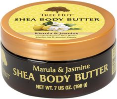 TREE HUT SHEA BOBY BUTTER MARULA & JASMINE . Amazing feeling shea butter with almond oil ,cocoa butter and jasmine flower essence. Creamy butter adds sheen and softness with an  incredible scent.$7.69 at Walmart, Ulta, Target .